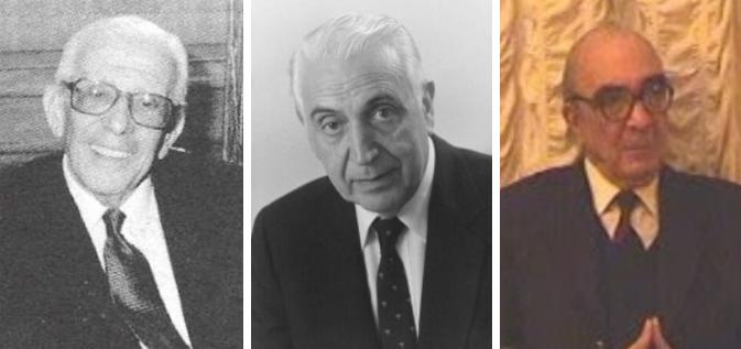 De izquierda a derecha los Doctores: Bernardo Vijnovsky (19??-1996), Francisco Eizayaga (1923-2001) y Alfonso Masi Elizalde (1932-2003)